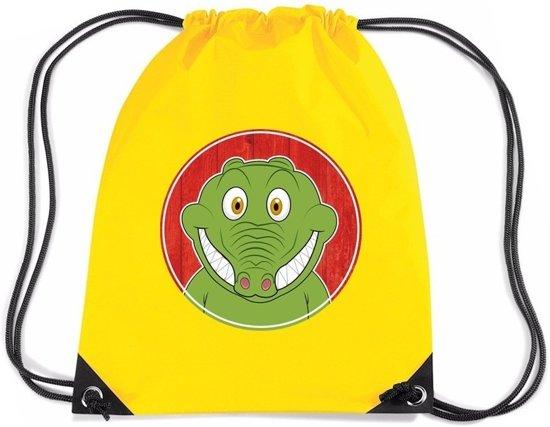 60a4c79ad8c Krokodillen rijgkoord rugtas / gymtas - geel - 11 liter - voor kinderen