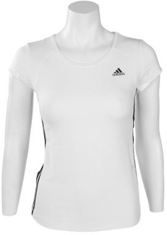 adidas Essential MF 3 Stripes Tee - Sportshirt - Dames - Maat 42 -  White;Black