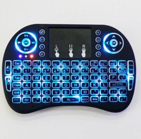 mini i8+ backlight wireless mediacenter toetsenbord met Multi-Touch muis - Zwart - QWERTY voor o.a. Raspberry Pi, Console, Smart TV. Draadloos keyboard