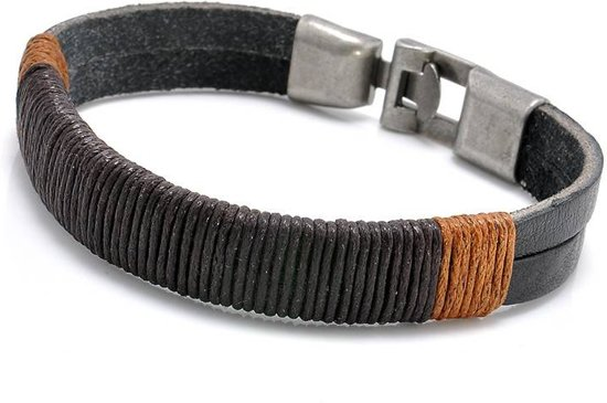 bol | stoere echt leren mannen / heren armband zwart met metalen