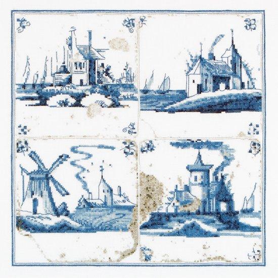 Thea Gouverneur Borduurpakket 484A Delft blauwe tegels dorpje - Aida stof 100% katoen