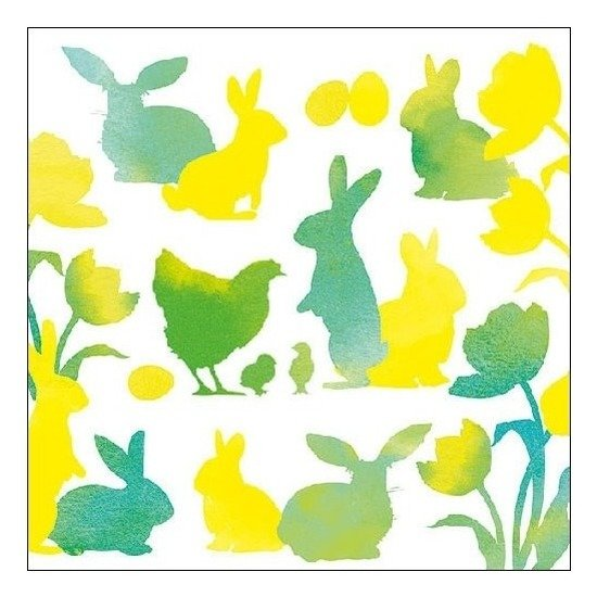 20x Pasen servetten geel/groen met dieren