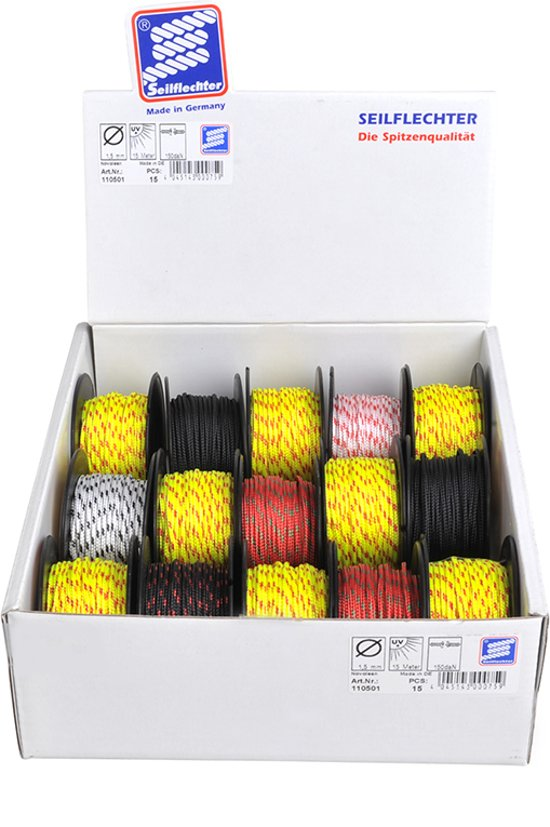 Mini koord Novoleen, 1,5mm, 15m, assorti, 150 daN