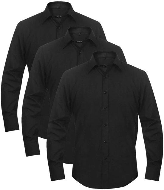 Maat Overhemd Man.Bol Com Vidaxl Overhemden Man Maat M Zwart 3 St
