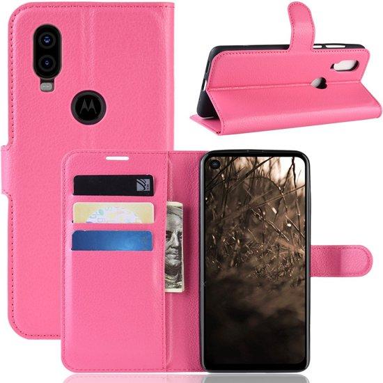 Motorola One Vision Hoesje - Book Case - Roze