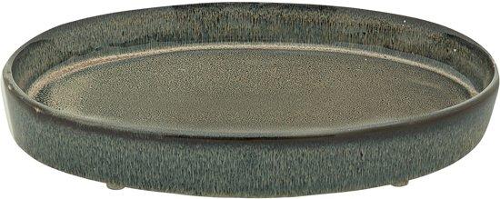 Bloomingville - Kaarsenplateau - Handmade Stoneware - Groen/Blauw/Bruin
