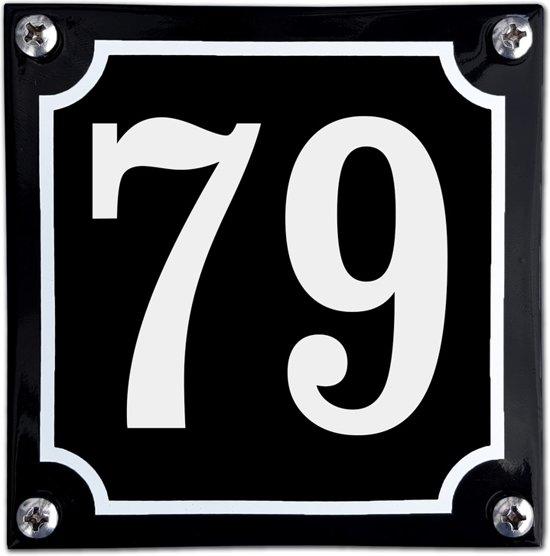 Zwart emaille huisnummer  - 79