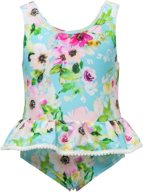 400d85eaee9198 Snapper Rock Badpak peplum - Watercolor Floral - Blauw/Roze - maat 74-80