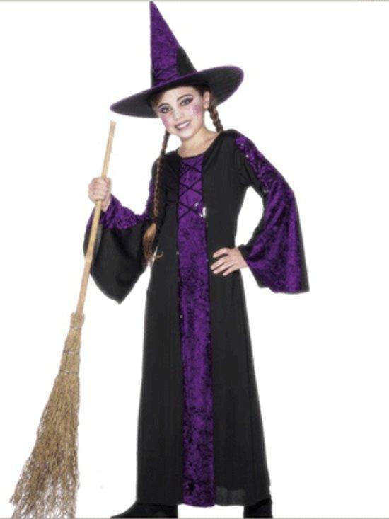 Halloween Heksen kinder kostuum zwart/paars 128-140 (7-9 jaar)