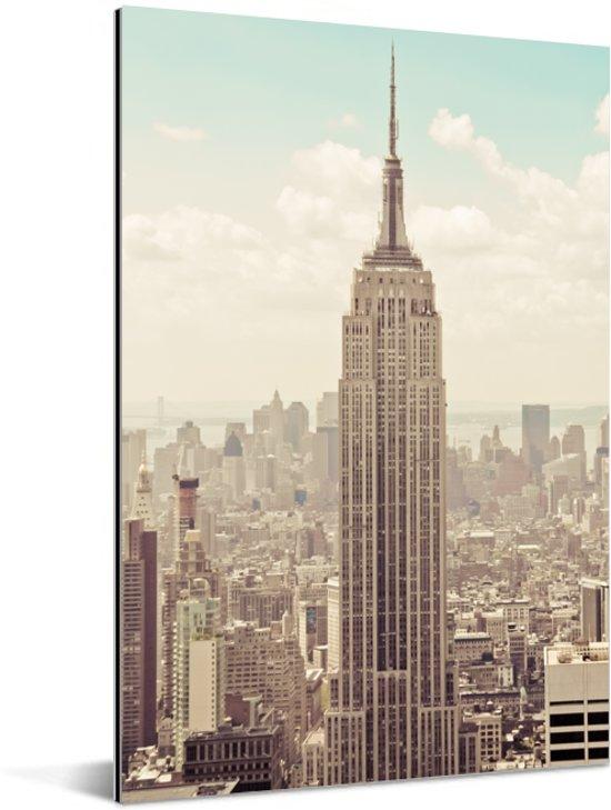 Uitzicht op het Empire State Building met een ouderwets thema Aluminium 80x120 cm - Foto print op Aluminium (metaal wanddecoratie)