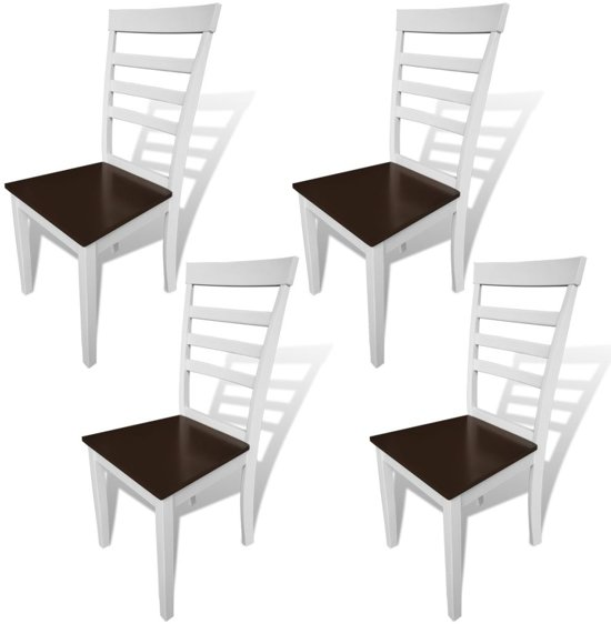 bol.com | vidaXL Eetkamerstoelen massief hout bruin en wit 4 st