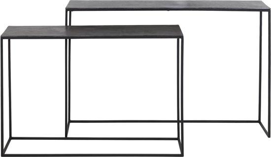 Sidetable Diepte 20 Cm.Light Living Boca Sidetable Set Van 2 Max 120x25x80 Cm Ruw Lood Ant Mat Zwart