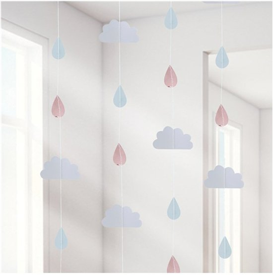 Ginger Ray Hello World - Backdrop slinger - wolken wit/rosé goud - 2 meter - Set-6 Valentinaa