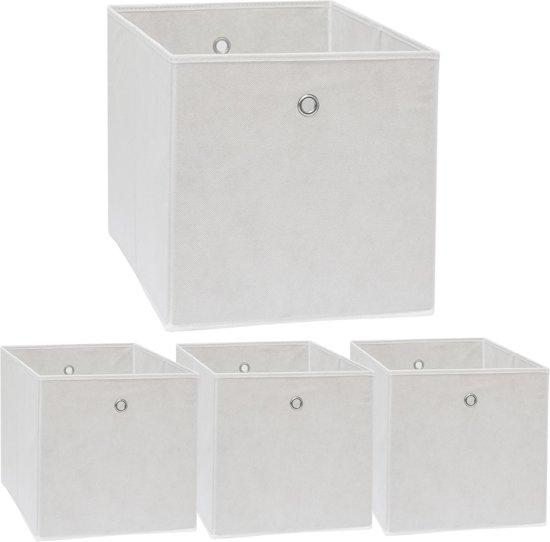 Vouwdoos set 4 dozen voor Kallax legbord wit 33x38x33cm Expedit doos met metalen handvat