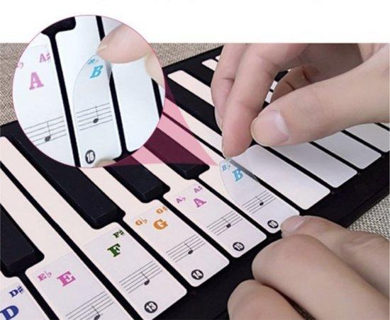 Piano Stickers - Gekleurde Noten - Voor Beginners - Lezen Muziek Noten - 88 - Keyboard - Toetsen - Eenvoudig Leren Spelen