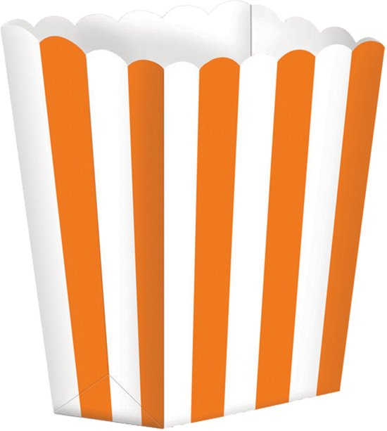 Amscan Snoepbakjes Streep 5 Stuks 9,5 X 13,5 Cm Cm Oranje