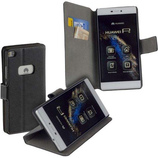 MiniPrijzen MP - Zwart Huawei P8 booktype - bookstyle - Wallet Case - Flip Cover - Book Case - Bescherm Hoes - Telefoonhoesje - Smartphone hoesje in Latour