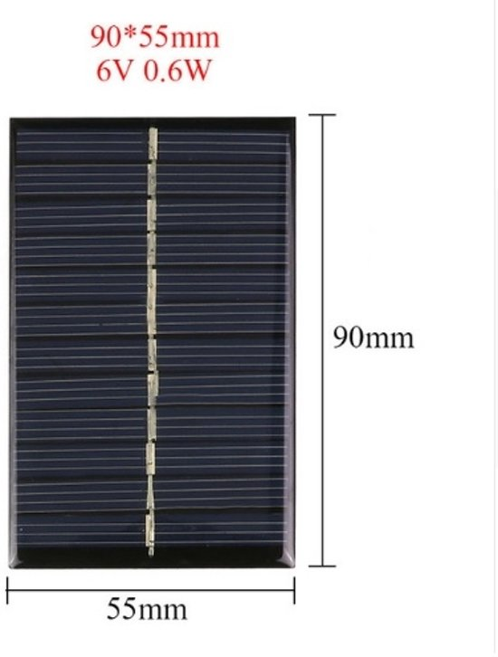 1 Stuk - 6V 0.6W 90x55mm Mini zonnepaneel