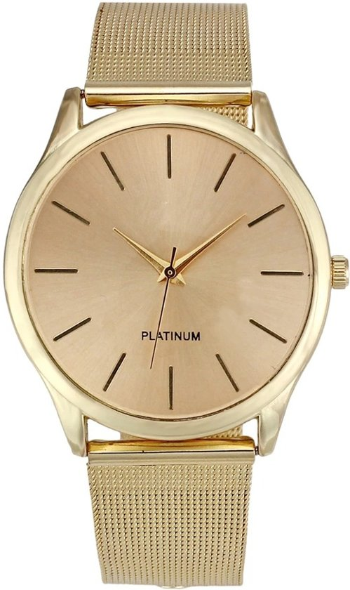 Dames horloge   Goud look - Fashion wrist watch - Analoge Quartz Unisex - stalen band   Goudkleurig