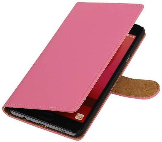 Mobieletelefoonhoesje.nl - Samsung Galaxy C7 Hoesje Effen Bookstyle Roze in Haren (Bru.)