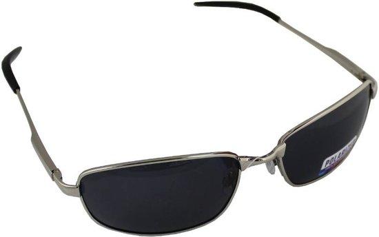 2a307b6ff35818 Zonnebril Sport Rechthoek Polariserend Glas Zilver Zwart GRATIS Brillenkoker