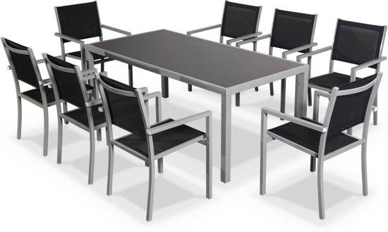 Bol.com tuintafel set van 1 tafel en 8 stoelen van aluminium en