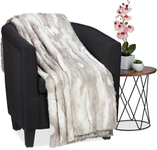 Nep Bont Sprei.Relaxdays Plaid Fleece Deken Sprei Polyester Imitatiebont Nep Bont Zacht 220x240cm