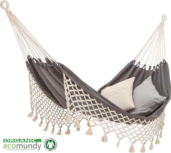 Luxe hangmat met franje - antraciet / ecru - BIO katoen - GOTS | ECOMUNDY ROMANCE L (130x200x320 cm)