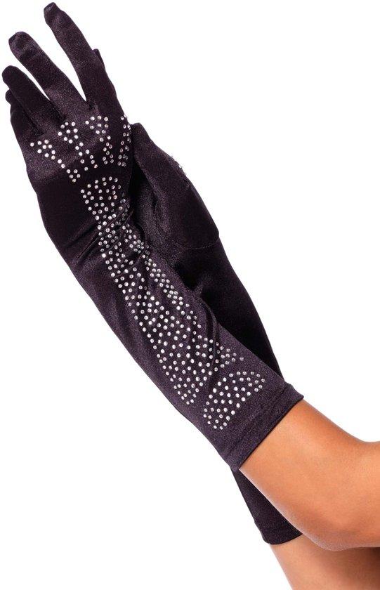 Satijnen lange handschoenen met kristal bot detail zwart - Kostuum Party - One size - Leg Avenue