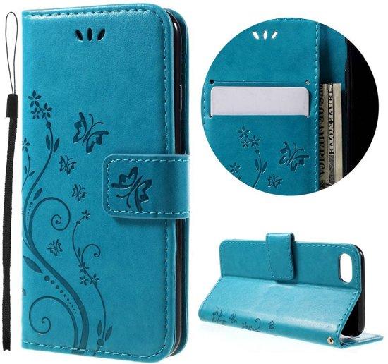 GSMWise - Apple iPhone 7 / 8 - PU lederen Portemonnee Case met Kaarthouder - Vlinders Design - Blauw in Havay