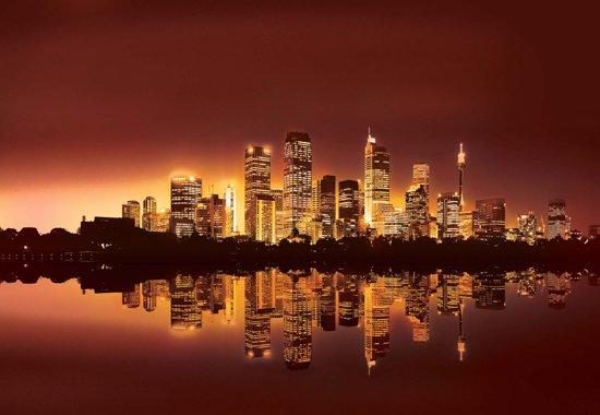 Fotobehang City New York Skyline Sunset | XXXL - 416cm x 254cm | 130g/m2 Vlies