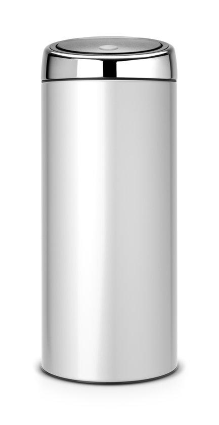 Brabantia Touch Bin Prullenbak - 30 l - Metallic Grey met Brilliant Steel deksel