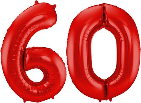 Cijfer 60 Rood Helium 86 cm