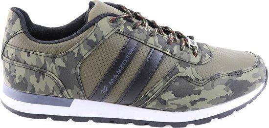 Heren Sneakers van Manzotti Met kamouflage Print Laag Groen