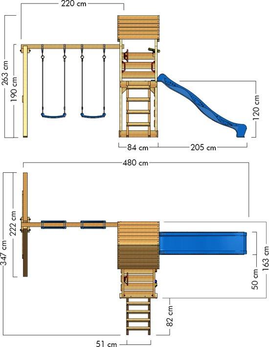 WICKEY MultiFlyer met houten dak Klimtoren