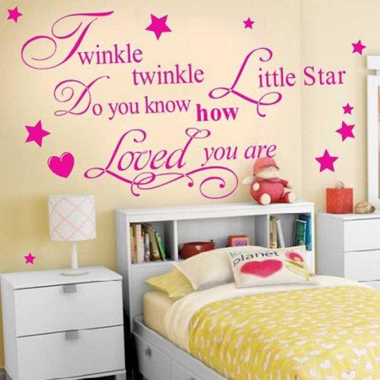 Tekst Op Muur.Bol Com Muur Sticker Met Tekst Twinkle Twinkle Meisjes