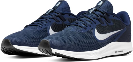 Nike Downshifter 9 Sportschoenen Heren - Midnight Navy/Pure Platinum-Dk Obsidian-Black-White - Maat 44.5