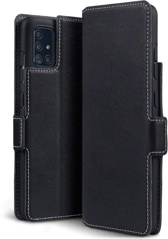 Samsung Galaxy A51 hoesje, MobyDefend slim-fit extra dunne bookcase, Zwart - Geschikt voor: Samsung Galaxy A51