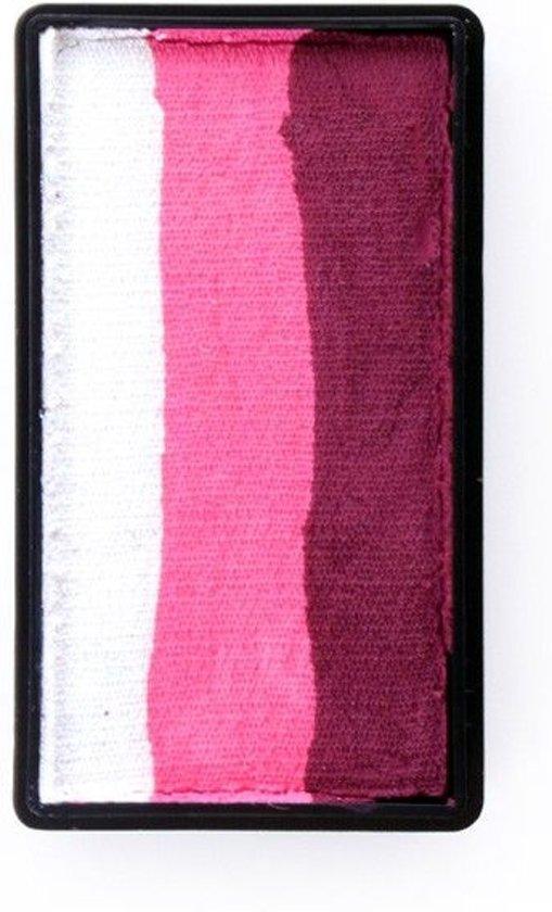 One stroke splitcake blocknr H (28 gram) Bordeaux red   pink   white