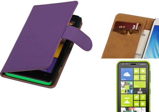 MP Case Bookstyle Hoes voor Nokia Lumia 620 Paars in Stuivezand