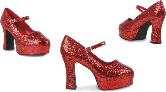 Schoenen Disco glitter - rood - maat 40