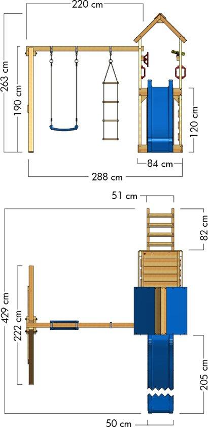 WICKEY MultiFlyer met houten dak Speeltoestel