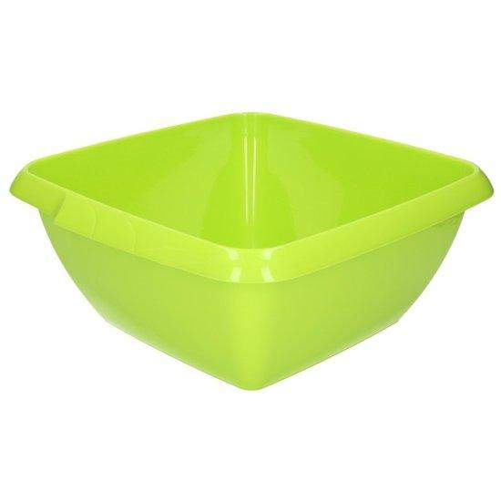 Vierkant afwasteiltje / afwasbak - 8 liter - groen - kunststof afwasteil / handwas camping
