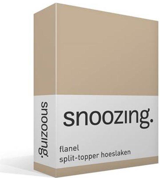 Snoozing - Flanel - Split-topper - Hoeslaken - Lits-jumeaux - 200x200 cm - Camel