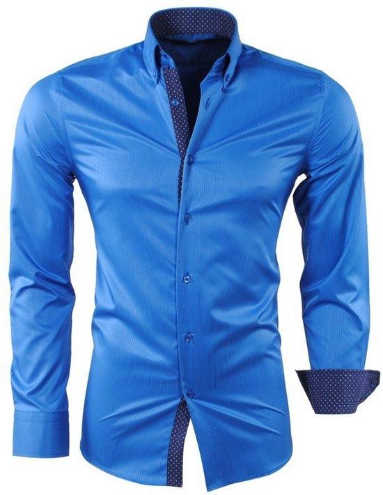 Strijkvrij Blauw En Gestippelde Heren Overhemd Slim Kraag Fit Montazinni Gestreept Kreuk 4qZfBH0