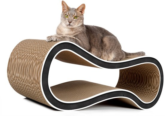 Cat-On® kartonnen design krabmeubel SINGHA L - 000G zwart met witte rand