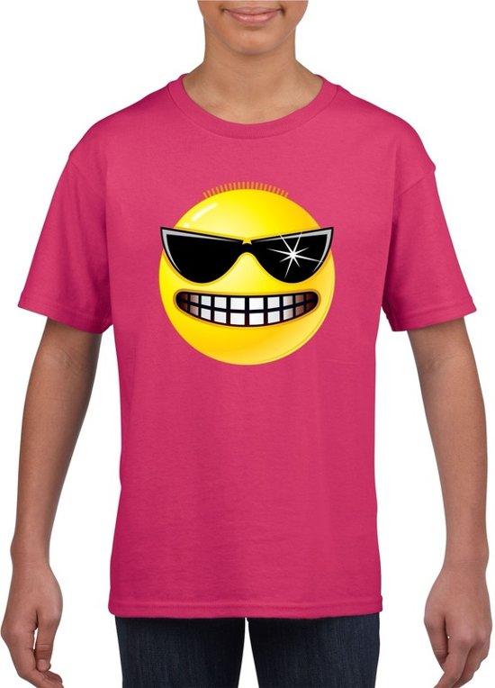 Smiley/ emoticon t-shirt stoer roze kinderen M (134-140)