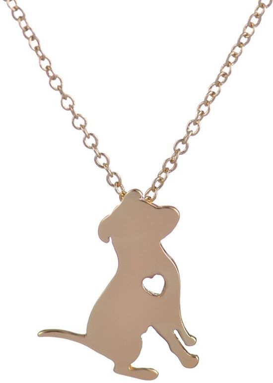 24/7 Jewelry Collection Hond Ketting - Hartje - Goudkleurig