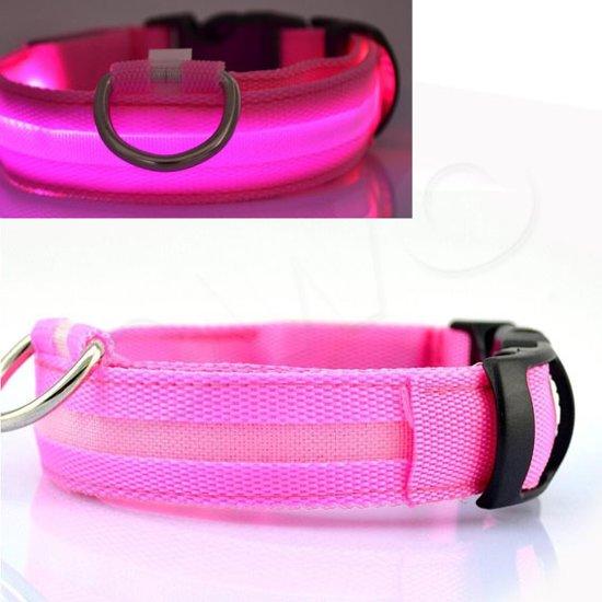 OWO - Honden halsband met led verlichting - roze/Small 33-40cm