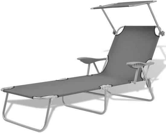 Genoeg bol.com | vidaXL Ligbed met luifel staal grijs GM39